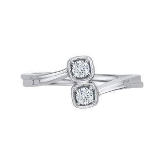 14k White Gold 1/5ct TDW Two-Stone Diamond Fashion Ring (G-H, I2-I3)