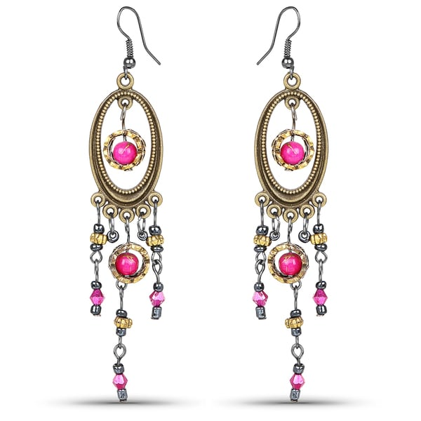Bella Crystal Ring Chandelier: Shop Liliana Bella Two Tone Chandelier Earrings With Pink