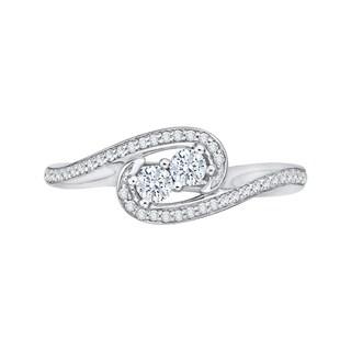 14k White Gold 3/8ct TDW Two-Stone Diamond Fashion Ring (G-H, I2-I3)