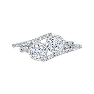 14k White Gold 1/2ct TDW Two-Stone Diamond Fashion Ring (G-H, I2-I3)