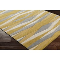 Strick & Bolton Sherrill Hand-Tufted Abstract Yellow Wool Area Rug - 5' x 8'