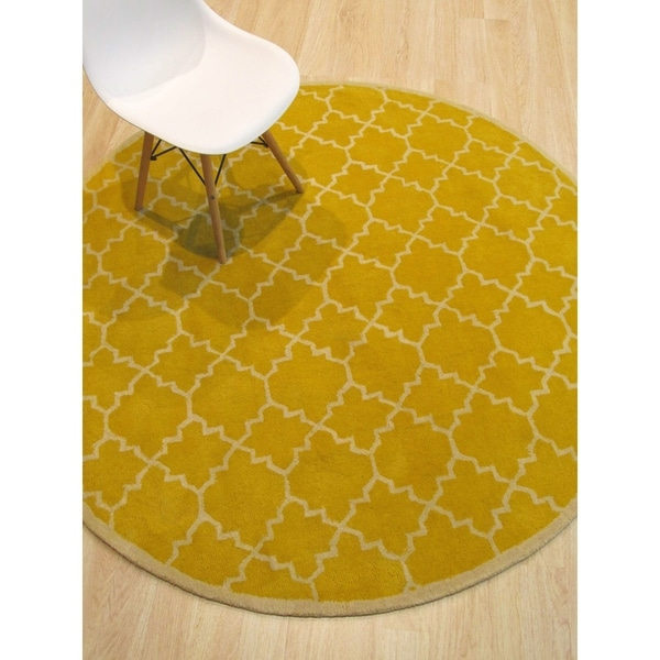 Hand Tufted Traditional Moroccan Trellis Yellow Round Wool Area Rug