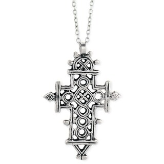 Ethiopian Coptic Silver Cross Long Necklace