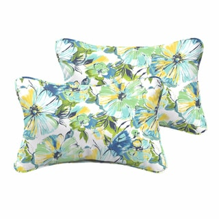 Perryn Green/ Blue Floral Indoor/ Outdoor 13 x 20 Inch Corded Pillow Set