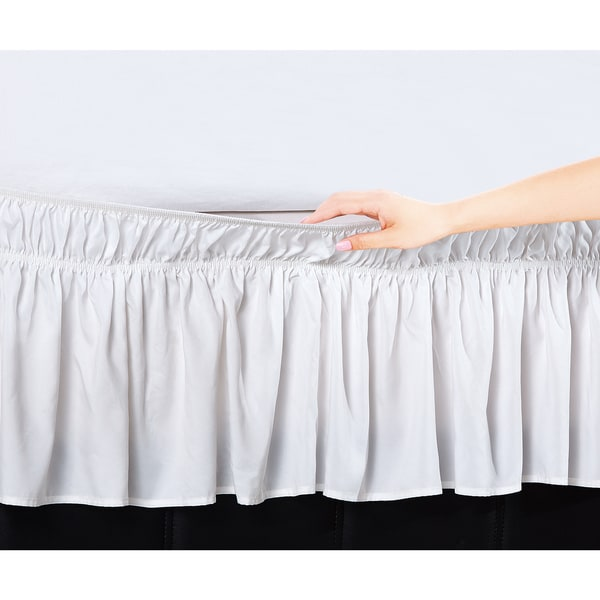 shop de moocci easy wrap platform free 16 inch drop queen king size bed skirt in white as is. Black Bedroom Furniture Sets. Home Design Ideas