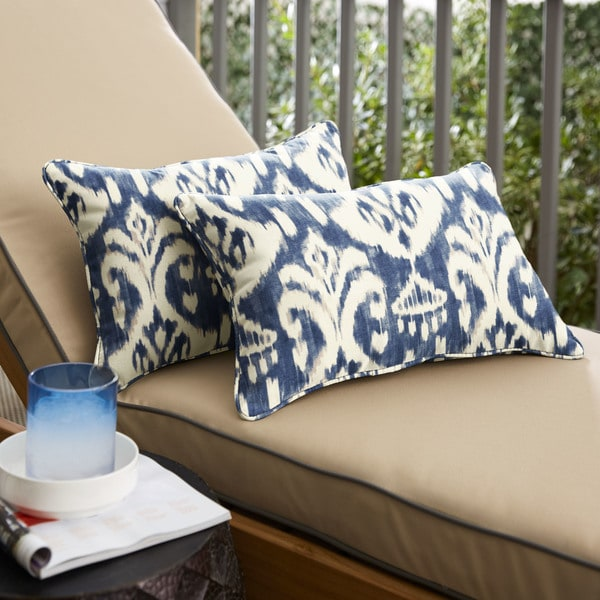 Marineland Indigo/ Cream Indoor/ Outdoor 13 x 20-inch Corded Pillow Set by Havenside Home