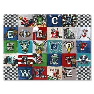 Oopsy Daisy Sports Alphabet Stretched Canvas Wall Art