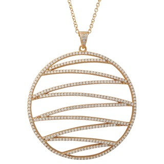 Luxiro Gold Finish Sterling Silver Cubic Zirconia Circle Pendant Necklace (3 options available)