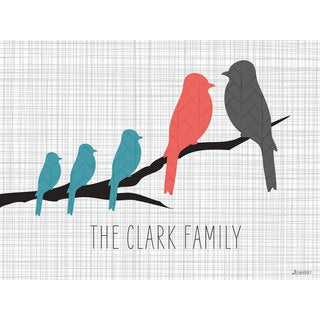GreenBox Art + Culture 'Branch Love Turquoise - Family of 5' 24 x 18-inch Stretched Canvas Wall Art