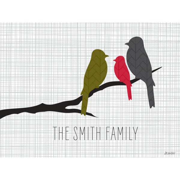 GreenBox Art + Culture 'Branch Love Red - Family of 3' 24 x 18-inch Stretched Canvas Wall Art