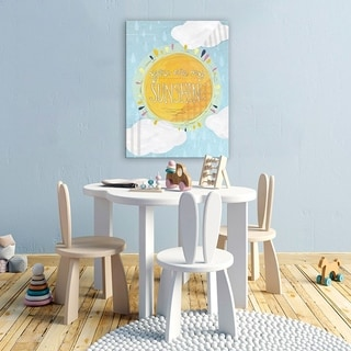 Wheatpaste Blue and White You Are My Sunshine Stretched Canvas Wall Art