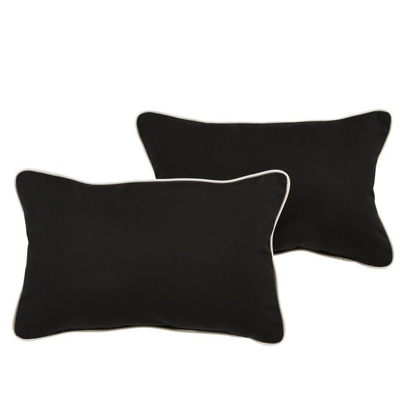 Santori Sunbrella Black/ Canvas Indoor/ Outdoor 13 x 20 Inch Corded Pillow Set