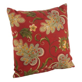 Flowering Vine Pattern Indoor/Outdoor Poly Filled Throw Pillow