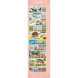 Oopsy Daisy Modern Alphabet on Pink Canvas Growth Chart