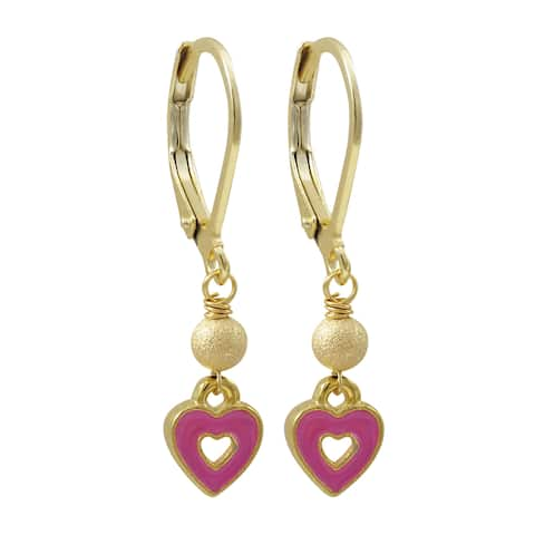 Luxiro Gold Finish Stainless Steel Enamel Heart Children's Dangle Earrings