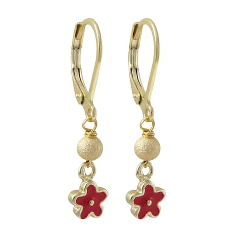 Luxiro Gold Finish Stainless Steel Enamel Flower Children's Dangle Earrings - Red