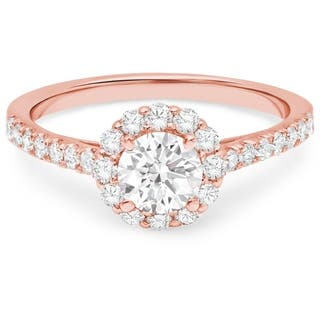 LeZari & Co. 14k Gold 1 1/6ct TDW White Diamond Halo Cathedral Engagement Ring (Option: Rose Gold)|https://ak1.ostkcdn.com/images/products/14704235/P21235371.jpg?impolicy=medium