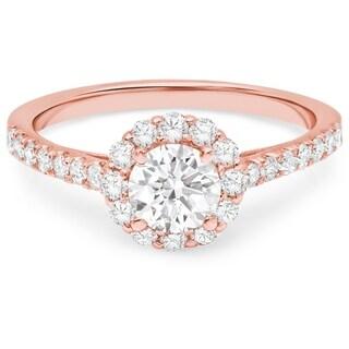 LeZari & Co. 14k Gold 1 1/6ct TDW White Diamond Halo Cathedral Engagement Ring