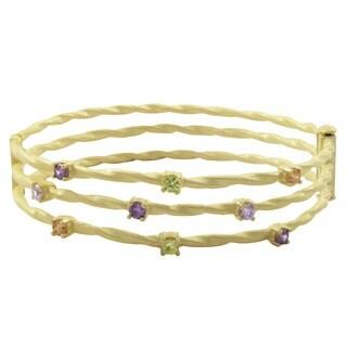 Luxiro Matte Goldtone Finish Cubic Zirconia Wire Bangle Bracelet