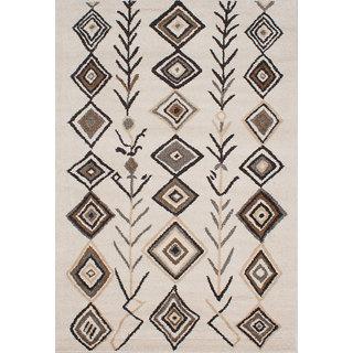 ecarpetgallery La Morocco Ivory Area Rug Shag (6'5 x 9'5)