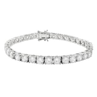 Luxiro Sterling Silver 5-mm Cubic Zirconia Tennis Bracelet
