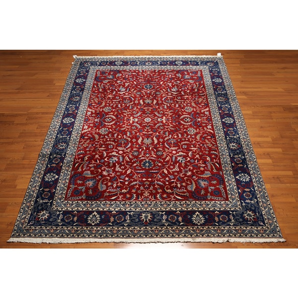 Hand Knotted Indian Tabriz Multicolor Wool Area Rug 9 X27