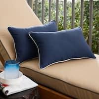 Sunbrella Navy Indoor/ Outdoor Lumbar Pillow, Set of 2