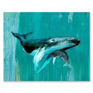 GreenBox Art + Culture 'Whale and Calf' 24 x 18-inch Stretched Canvas Wall Art