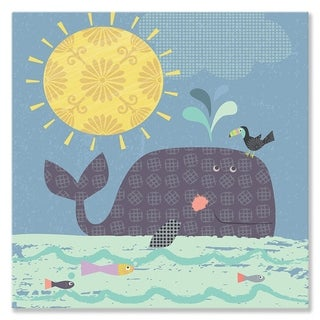 Oopsy Daisy Sunshine Whale Stretched Canvas Wall Art