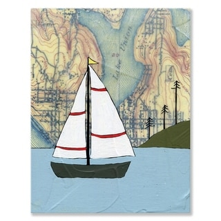 Oopsy daisy 'Lake Union Sailboat' 14 x 18-inch Stretched Canvas Wall Art