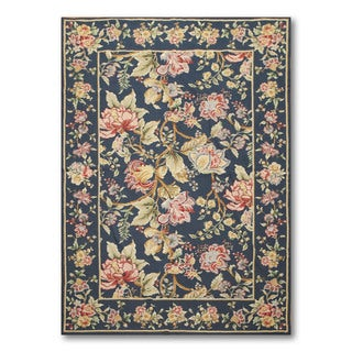 Hand-woven Needlepoint Multicolor Wool Area Rug (4' x 6')