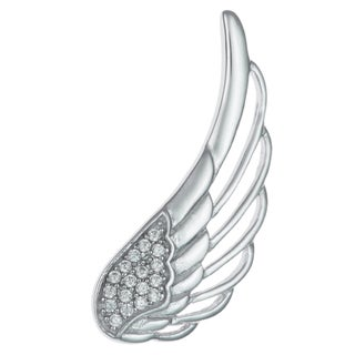 Queenberry Rhodium-plated Sterling Silver Angel Wing Feather Clear CZ French Hook Earwire Ear Cuff W