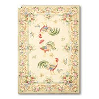 Hand-knotted Needlepoint Multicolor Wool Area Rug (3'9 x 5'9)