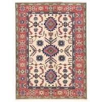 Handmade Herat Oriental Afghan Vegetable Dye Kazak Wool Rug (Afghanistan) - 5' x 6'9