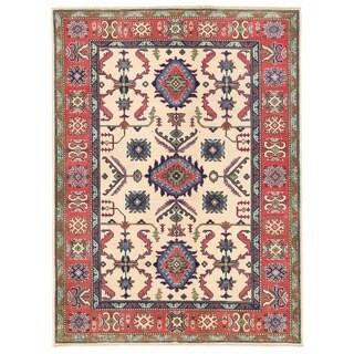 Herat Oriental Afghan Hand-knotted Vegetable Dye Kazak Wool Rug (5' x 6'9)