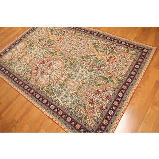 Hand-woven Needlepoint Multicolor Wool Area Rug (7'11 x 5'9)