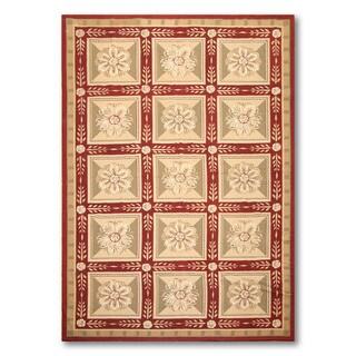 Hand-woven Needlepoint Multicolor Wool Area Rug (6' x 9')