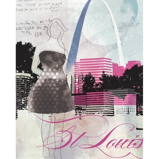 Wheatpaste St. Louis City Girl Stretched Canvas Wall Art