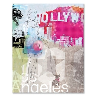 Wheatpaste Los Angeles City Girl Stretched Canvas Wall Art