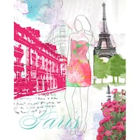 Wheatpaste Paris City Girl Stretched Canvas Wall Art