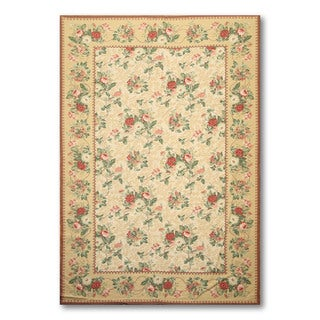Hand-woven Needlepoint Multicolor Area Rug Wool (5'6 x 8'6)