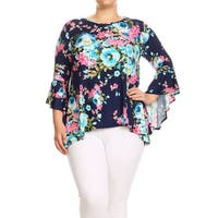 Women's Plus Size Floral Pattern Flutter Sleeve Tunic