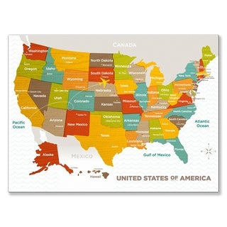 Oopsy Daisy Wood Grain US Map Stretched Canvas Wall Art