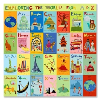 Oopsy daisy 'Exploring the World From A-Z' 30 x 30-inch Stretched Canvas Wall Art