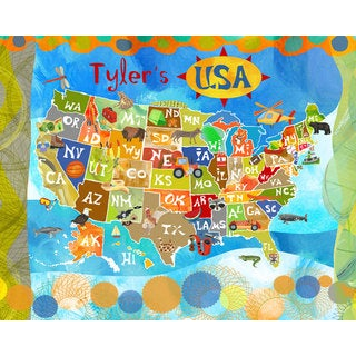 Oopsy daisy 'Explore the USA!' 30 x 24-inch Stretched Canvas Wall Art