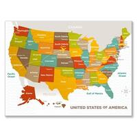 Oopsy Daisy 'Wood Grain US Map' Stretched Canvas Wall Art