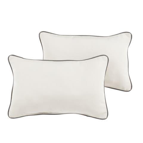 Renfro Sunbrella Canvas/ Charcoal Indoor/ Outdoor 13 x 20 Inch Corded Pillow Set