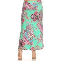 Women's Mixed Paisley Pattern Plus-size Maxi Skirt