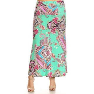 Women's Mixed Paisley Pattern Plus-size Maxi Skirt