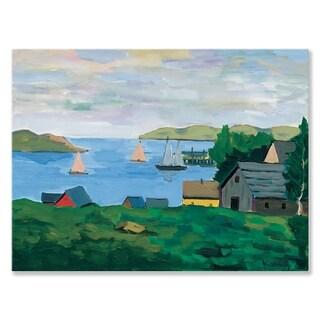 GreenBox Art + Culture 'Sailboats' 24 x 18-inch Stretched Canvas Wall Art